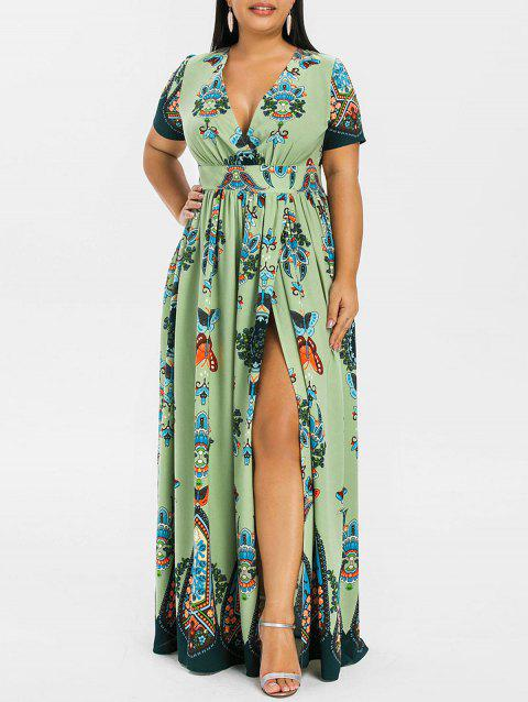 Plus Size Printed Maxi Split Dress - SALAD GREEN 1X