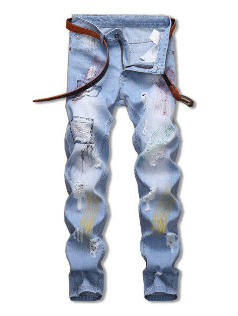 Pigment Painting Ripped Casual Jeans - JEANS BLUE 38