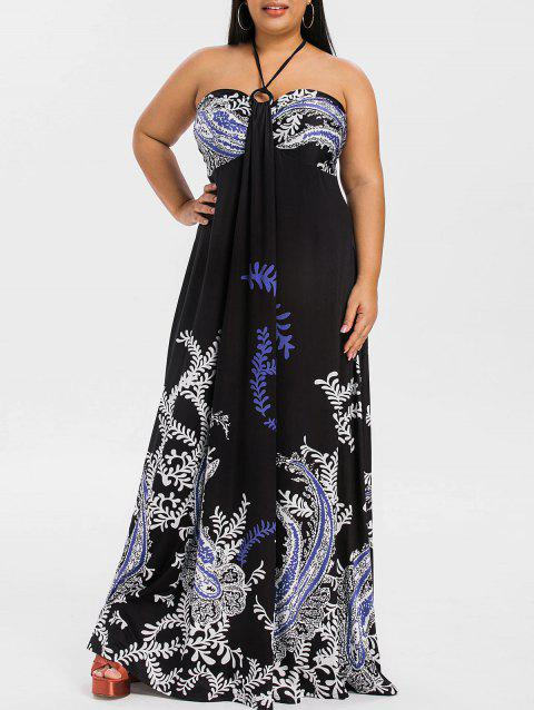 Plus Size Halter Printed Maxi Dress - BLACK 2X