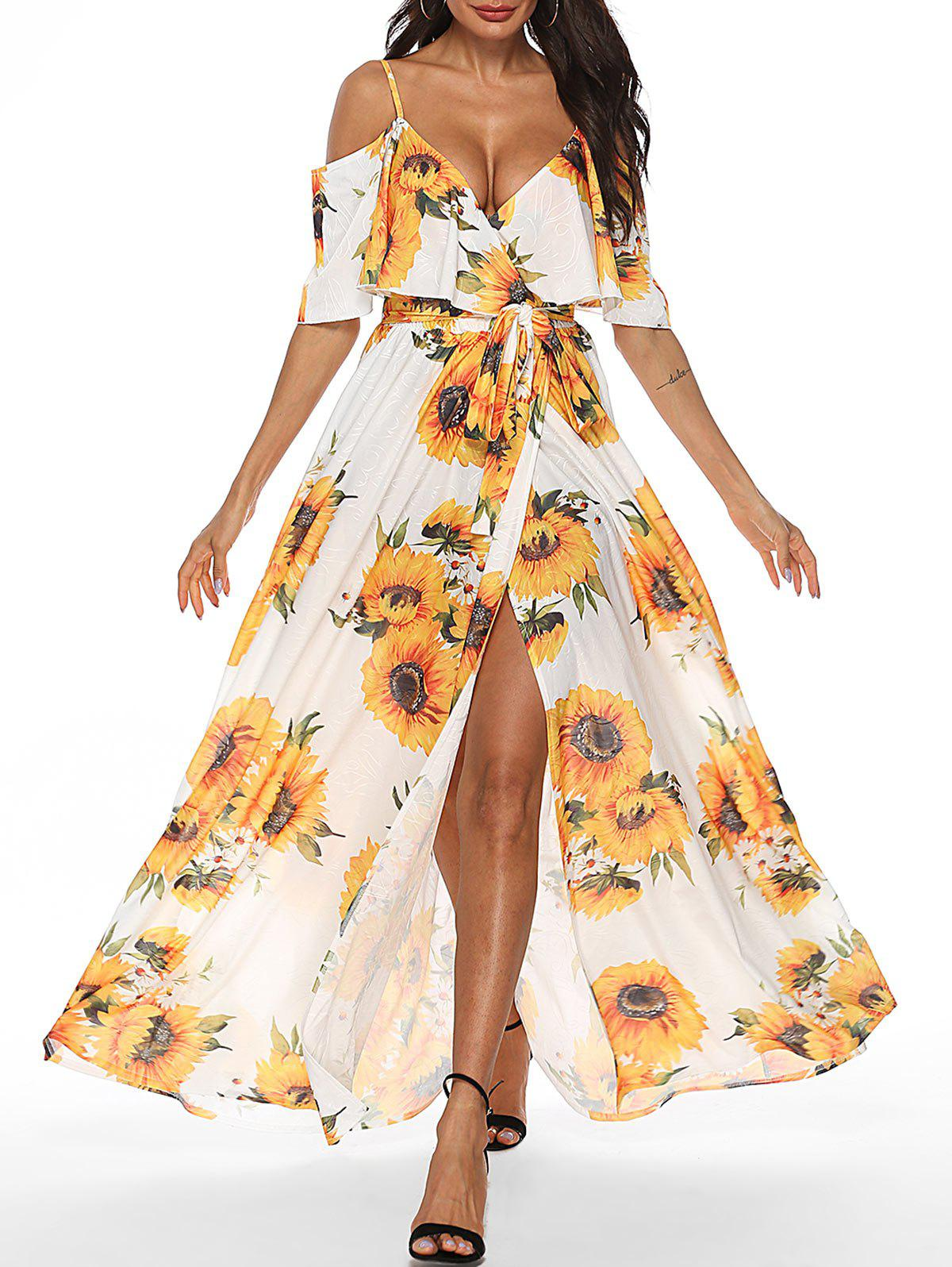 Sunflower Cold Shoulder Slit Maxi Dress - multicolor 2XL