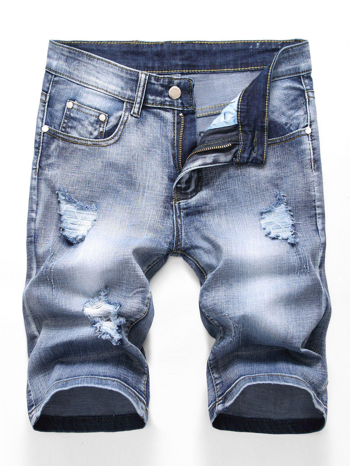 Short Déchiré Zippé Design en Denim - Bleu de Jean 36