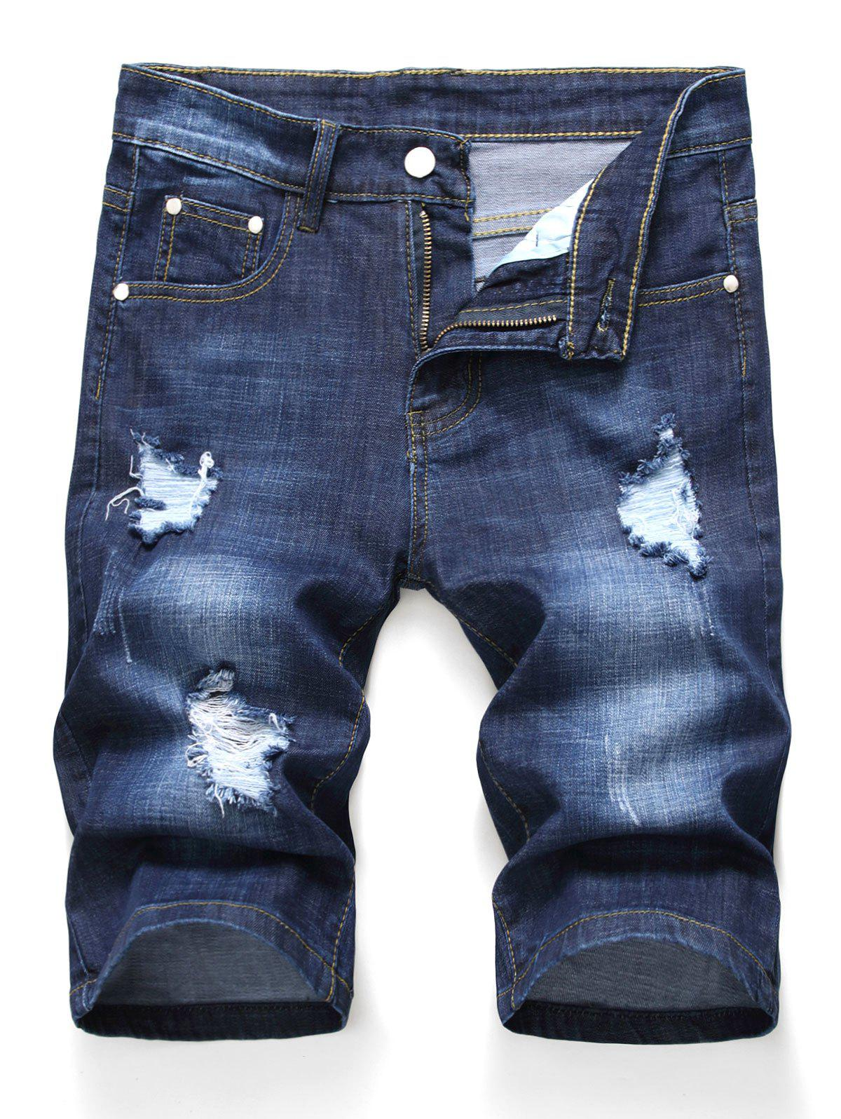 Zipper Fly Design Ripped Denim Shorts - DENIM DARK BLUE 36