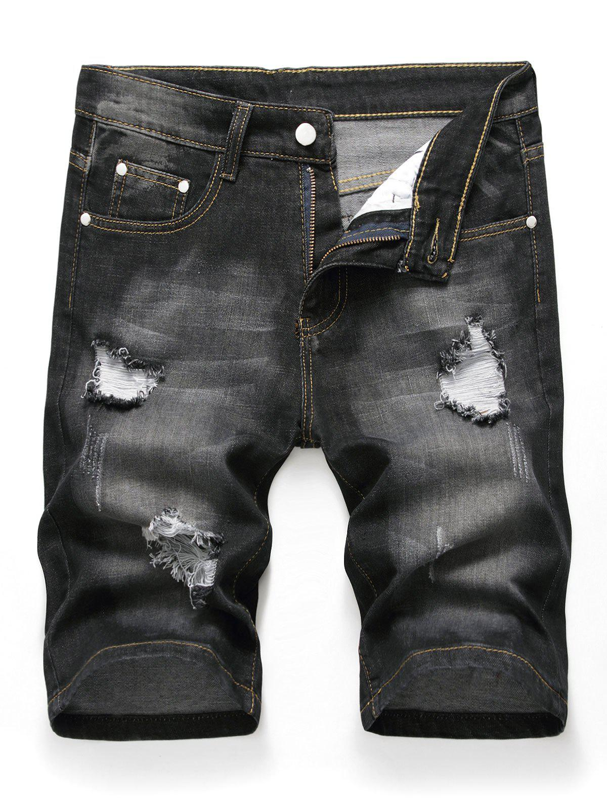 Zipper Fly Design Ripped Denim Shorts - BLACK 38