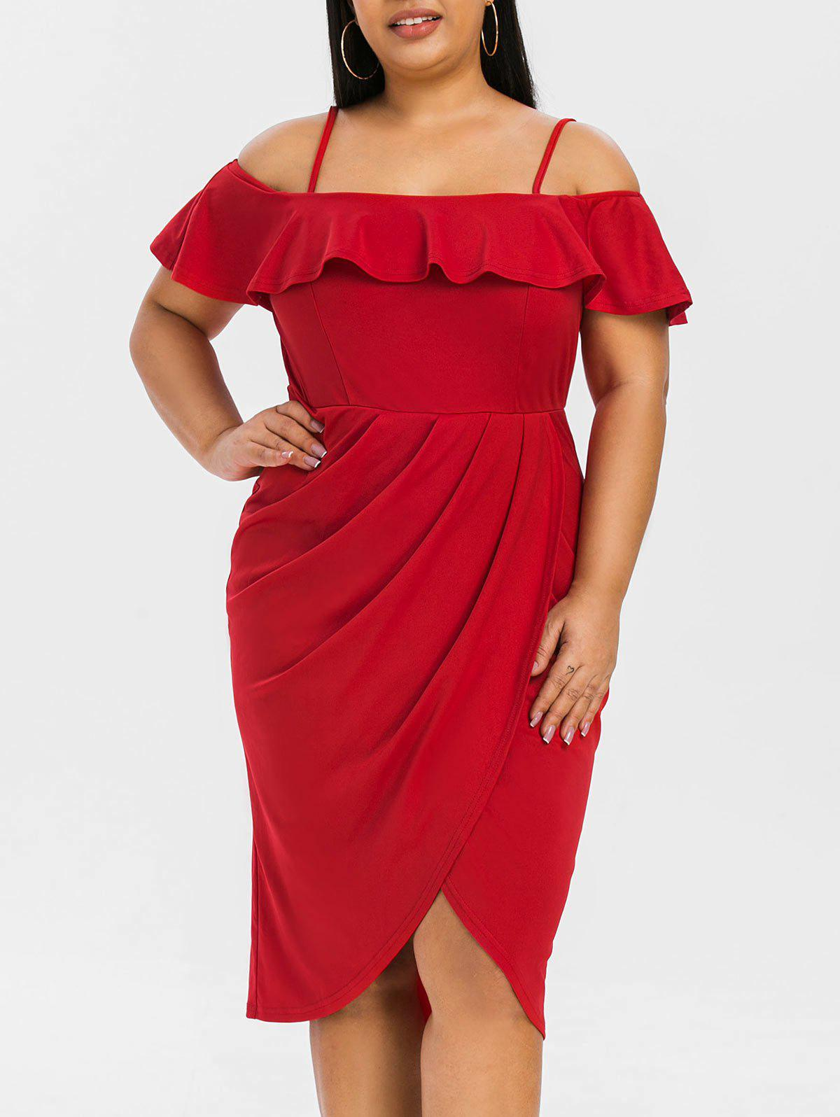 Plus Size Ruffled Cold Shoulder Midi Dress - LAVA RED 4X
