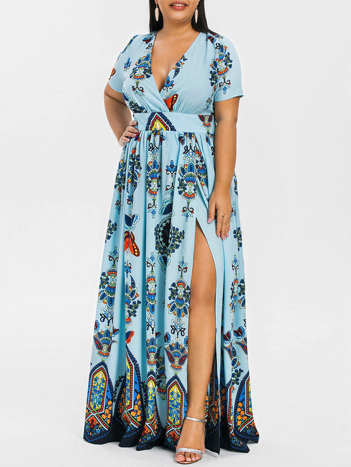 Plus Size Printed Maxi Split Dress - LIGHT BLUE L