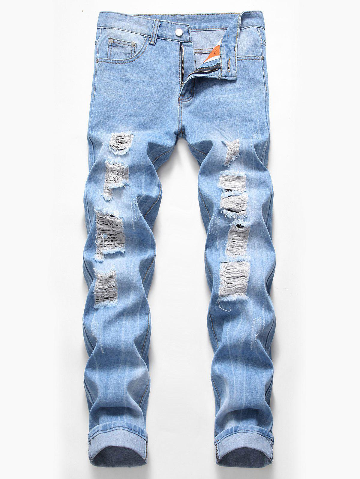 Zip Fly Design Ripped Casual Jeans - JEANS BLUE 40