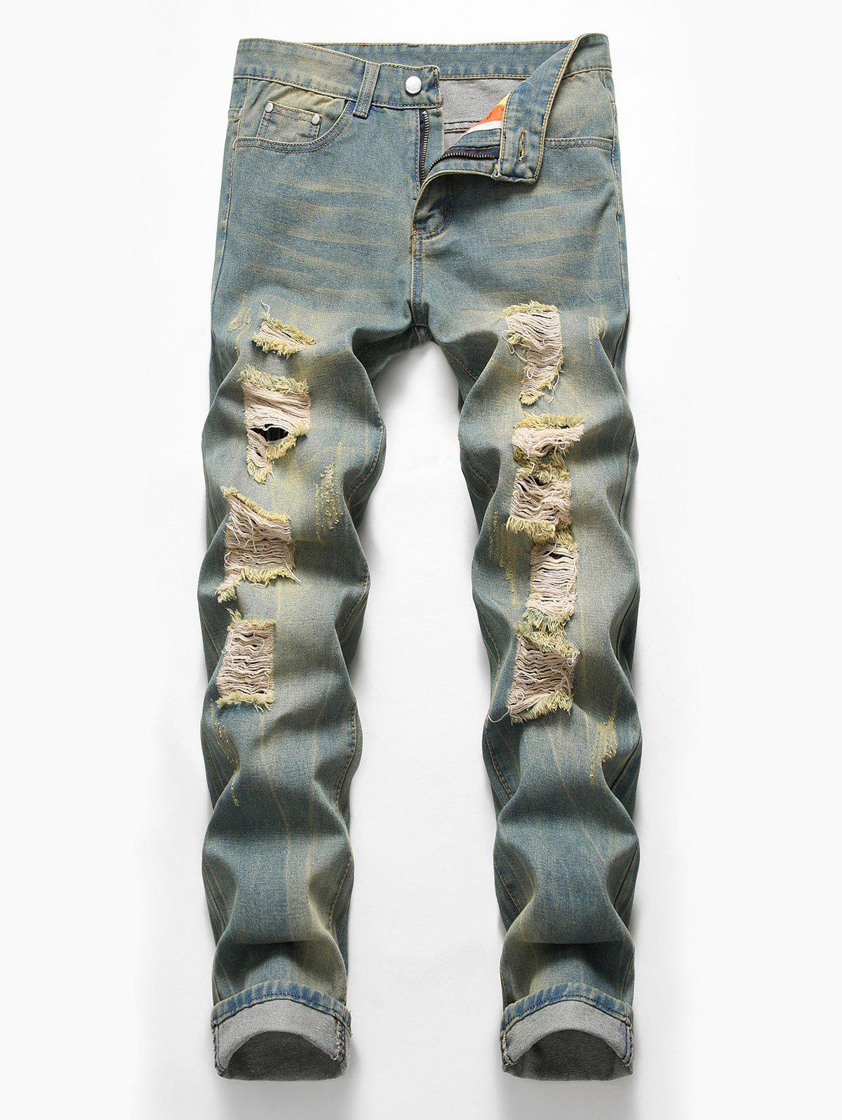Zip Fly Design Ripped Casual Jeans - BLUE GRAY 40