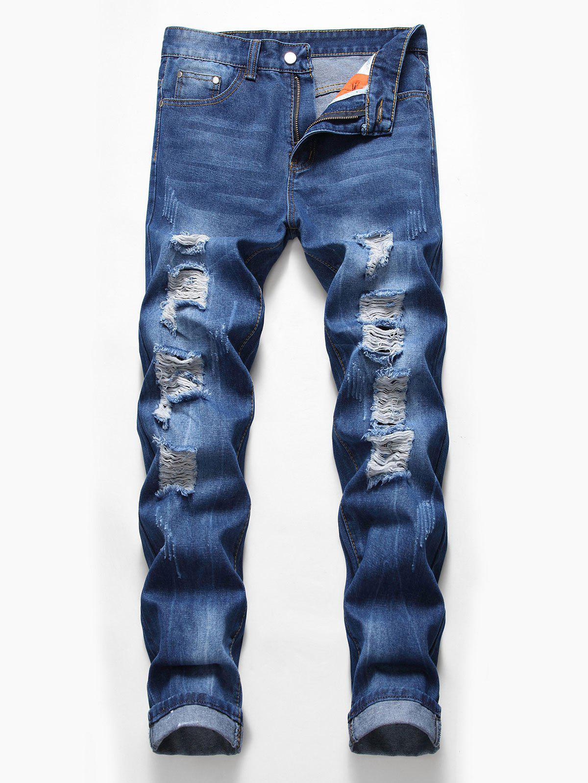 Zip Fly Design Ripped Casual Jeans - DENIM DARK BLUE 40