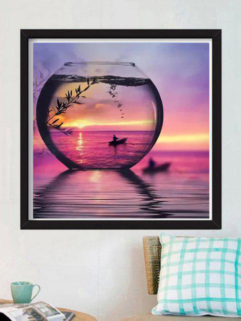 Sunset Fish Tank Print Unframed DIY Rhinestone Painting - BLUSH RED