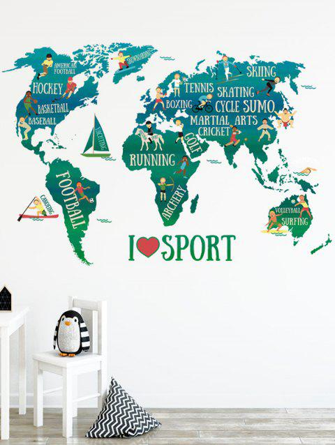 Sports World Map Print Removable Wall Art Stickers - multicolor