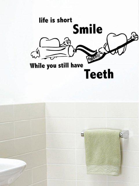Brush Teeth Quote Print Removable Wall Art Stickers - BLACK 42*74CM