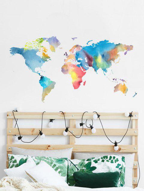 Colorful World Map Print Removable Wall Art Stickers - multicolor