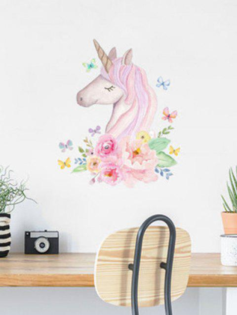 Unicorn Flowers Print Removable Wall Art Stickers - multicolor