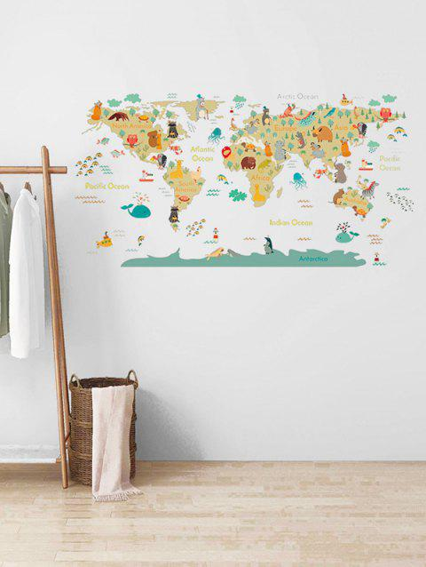 Cartoon Animal World Map Print Removable Wall Art Stickers - multicolor