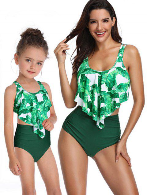 Leaves Print Overlay Family Swimsuit - DEEP GREEN KID 4T