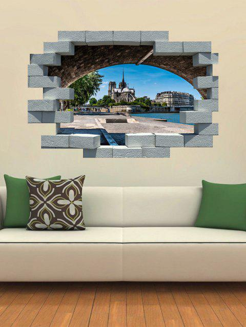 Broken Wall Notre Dame Printed Removable Wall Art Stickers - multicolor