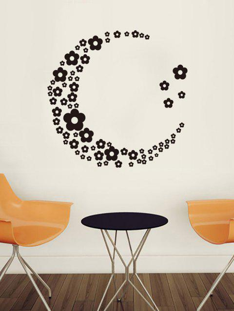 Flower Moon Print Removable Wall Art Stickers - BLACK