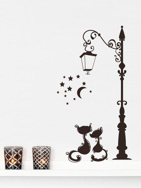 Street Lamp Cats Print Removable Wall Art Stickers - BLACK