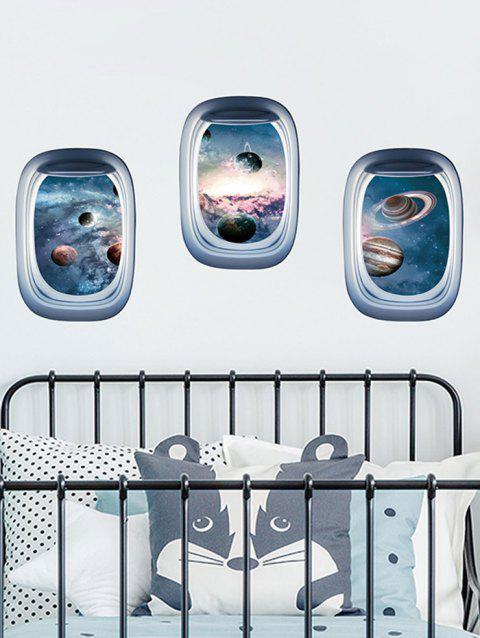 Aircraft Window Universe Planets Print Removable Wall Art Stickers - multicolor