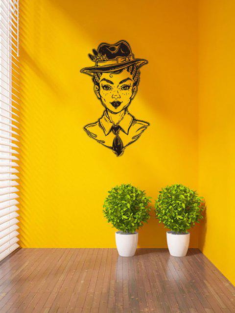 Character Print Removable Wall Art Stickers - BLACK