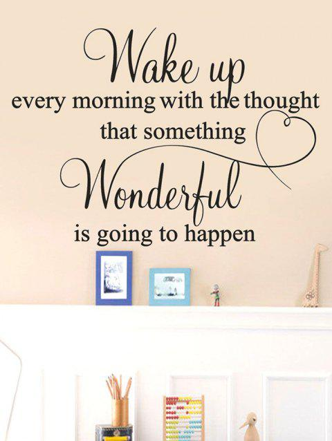 Wake Up Quote Print Removable Wall Art Stickers - BLACK