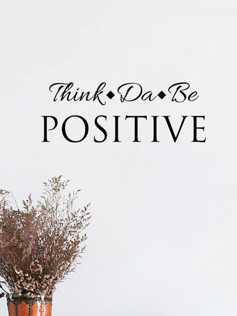 Think Positive Pattern Wall Stickers - BLACK 18*57CM