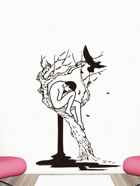 Tree and Woman Print Removable Wall Art Stickers - BLACK