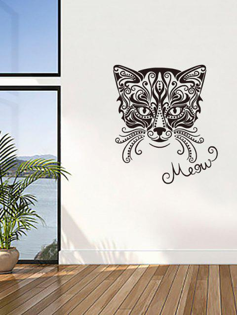 Fashion Cat Print Removable Wall Art Stickers - BLACK