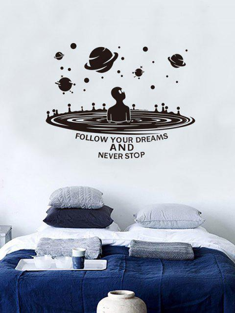 ET Planets Print Removable Wall Art Stickers - BLACK