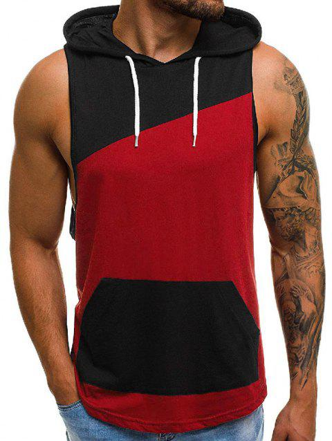 Color Spliced Hooded Tank Top - RED XL