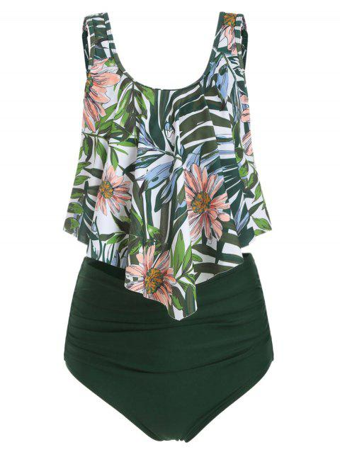 Floral Leaf Ruched Flounce Tankini Set - DARK FOREST GREEN M