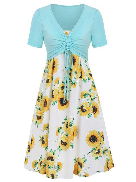 Sunflower Cami Dress with Cinched T-shirt - multicolor D 2XL