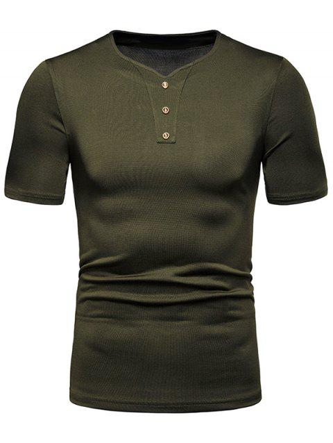 Button Decor Solid Color T Shirt - ARMY GREEN XL