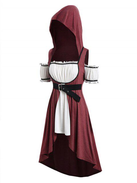 Plus Size Hooded Faux Twinset High Low Punk T-shirt - RED WINE 5X