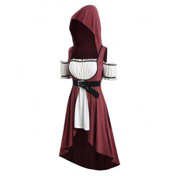 Plus Size Hooded Faux Twinset High Low Punk T-shirt