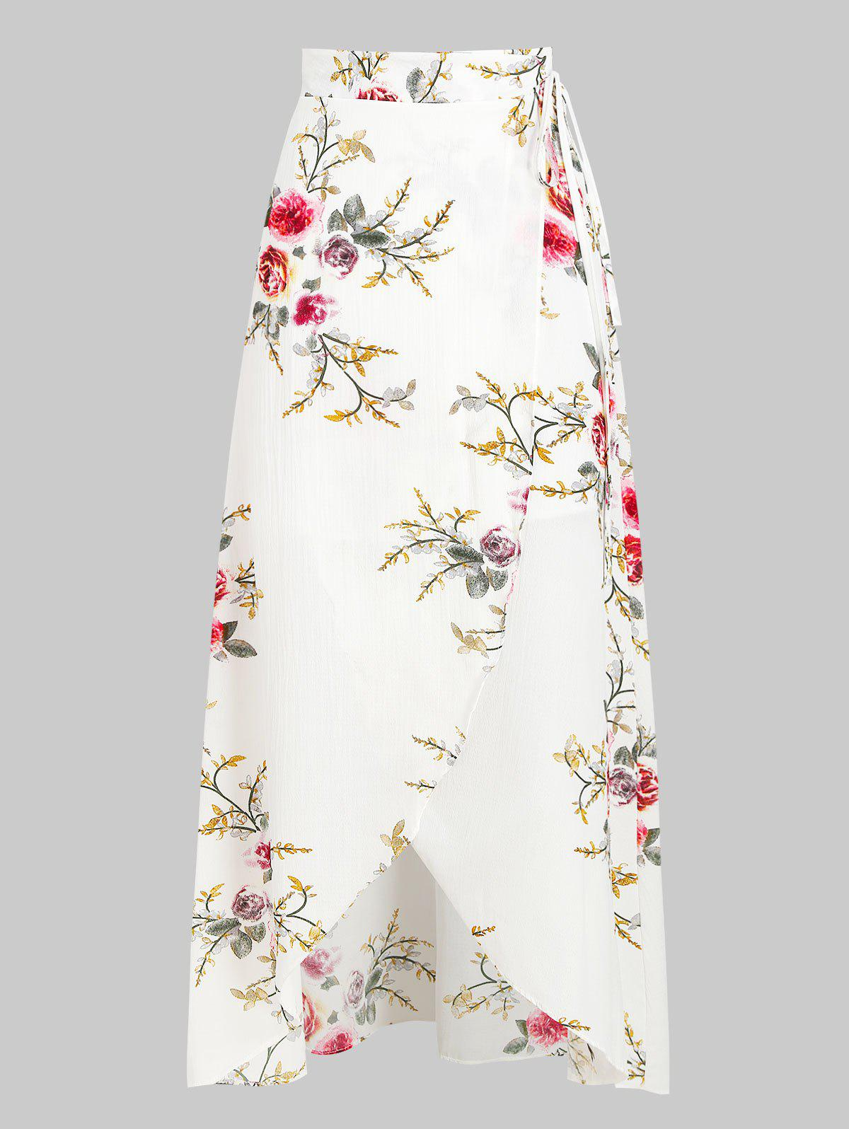 Bohemian Floral Midi Wrap Skirt - WHITE XL