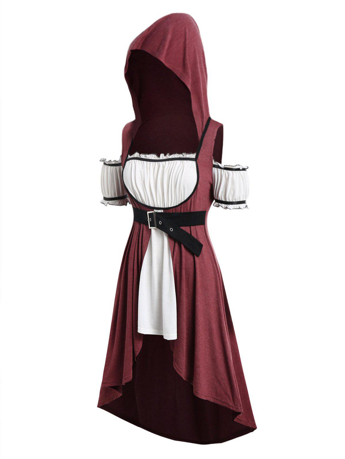 Plus Size Hooded Faux Twinset High Low Punk T-shirt - RED WINE L