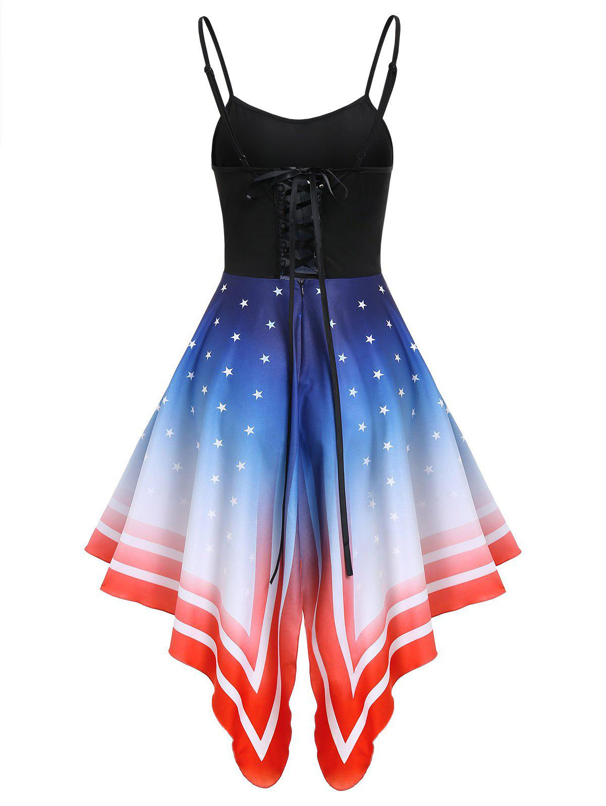American Flag Asymmetric Cami Lace-up Dress - BLUE 2XL