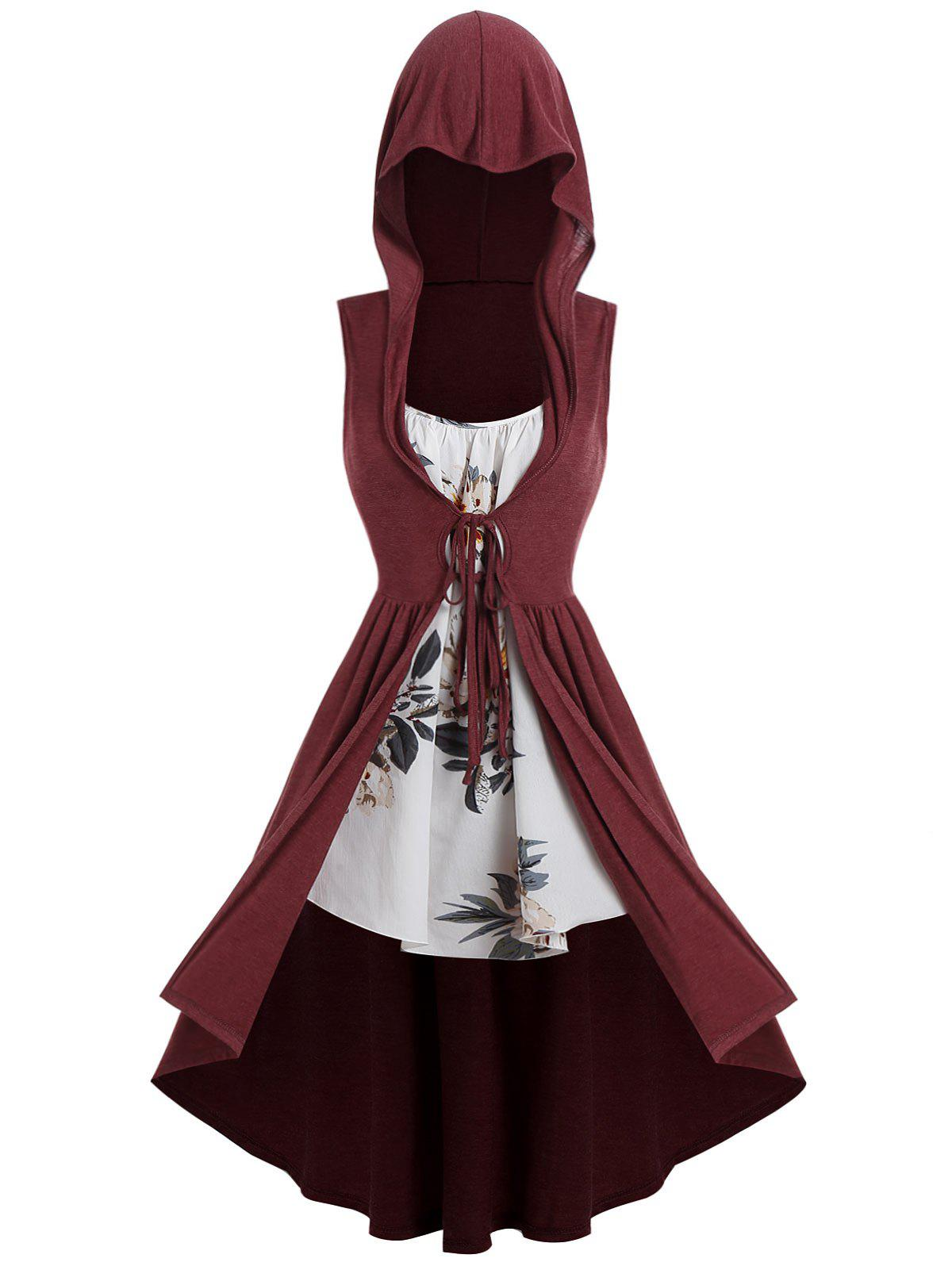 Plus Size Long Hooded Front Tie Vest with Floral Cami Top - RED WINE 2X
