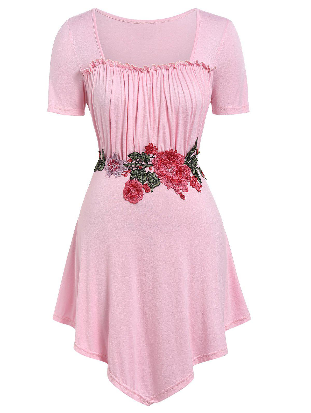 Plus Size Floral Embroidery Square Neck T-shirt - PIG PINK 3X