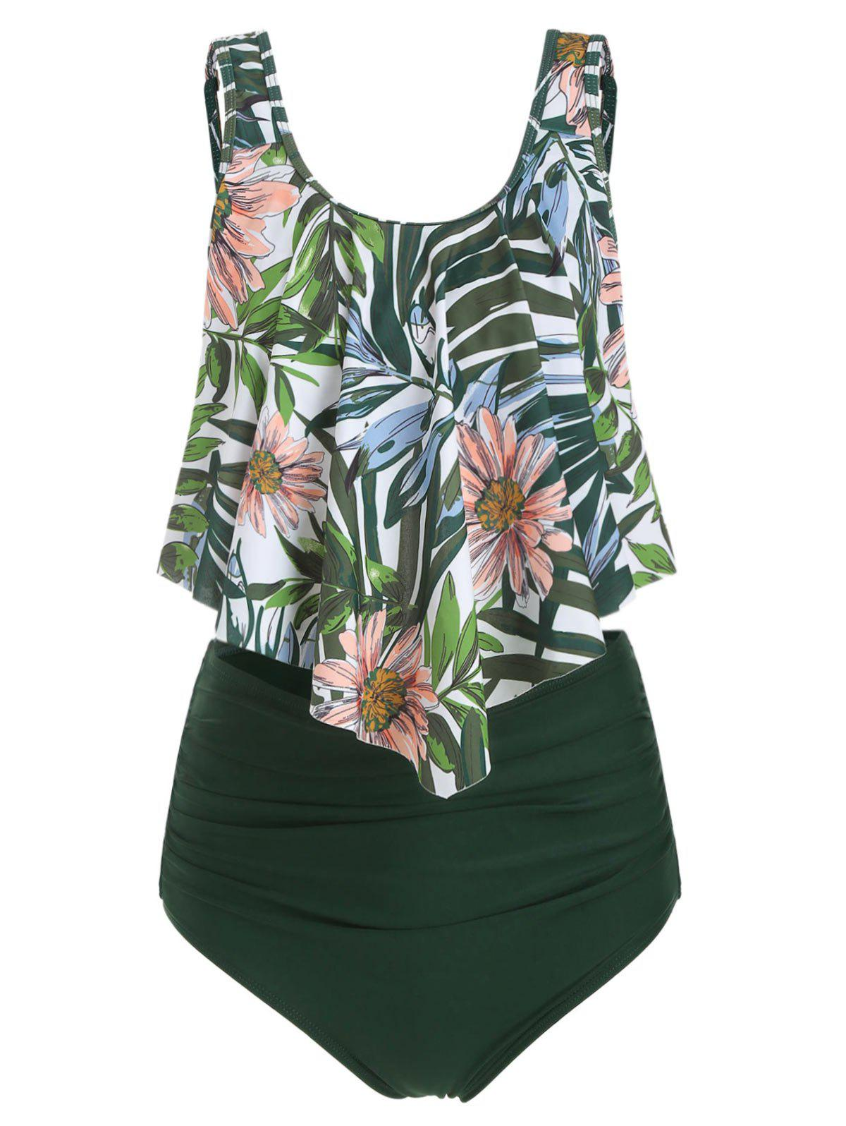 Floral Leaf Ruched Flounce Tankini Set - DARK FOREST GREEN S