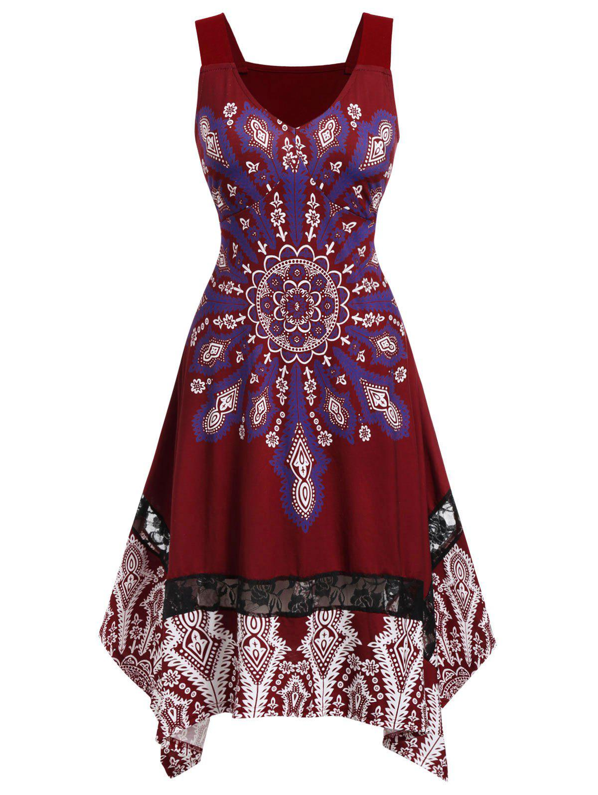 Plus Size Knee Length Printed Dress - RED WINE L