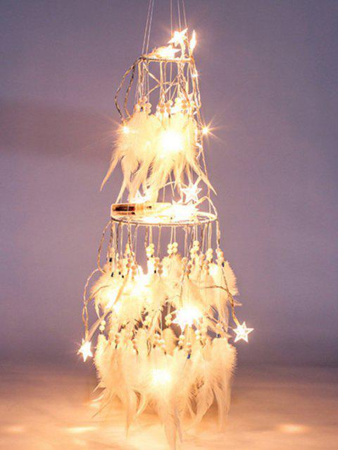 Handmade LED Light Double Layered Feather Dream Catcher - WHITE