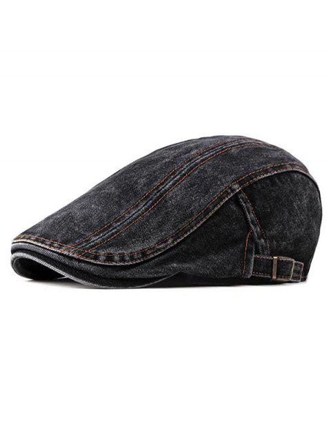 Denim Casual Flat Cap - BLACK