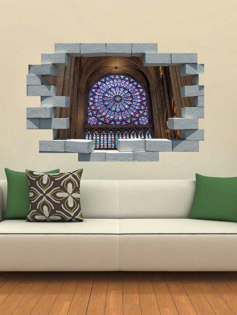Notre Dame Broken Printed Wall Removable Wall Art Stickers - multicolor