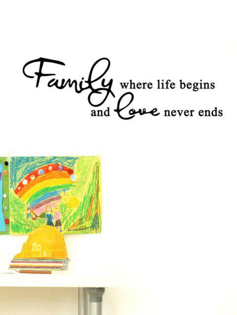 Family Love Pattern Wall Stickers - BLACK 18*57CM