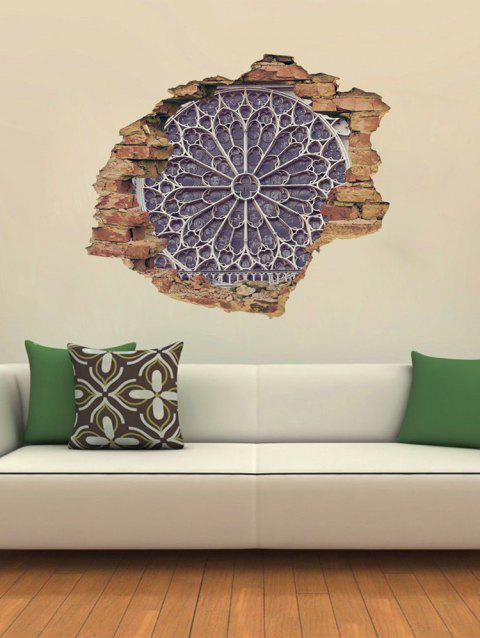 Notre Dame Window Broken Wall Print Removable Wall Art Stickers - multicolor