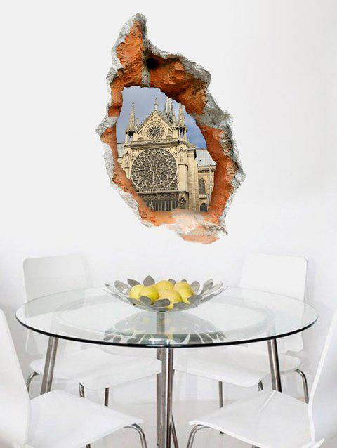 Notre Dame Broken Wall Print Removable Wall Art Stickers - multicolor