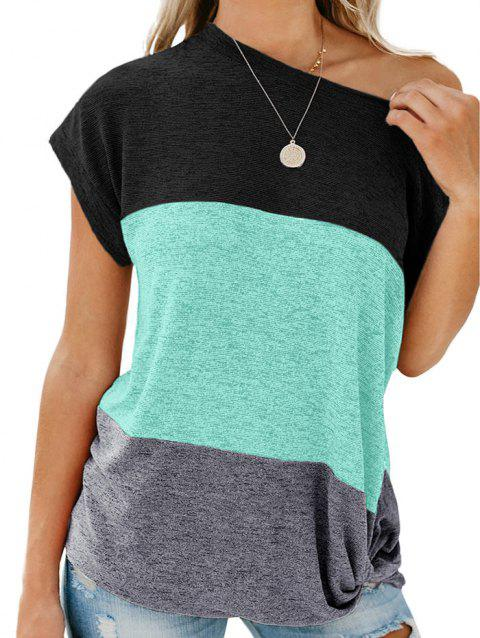 Color Block Batwing Sleeve Knitted T-shirt - CELESTE L