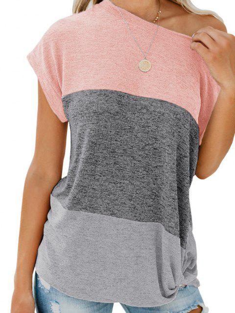 Color Block Batwing Sleeve Knitted T-shirt - ROSE XL